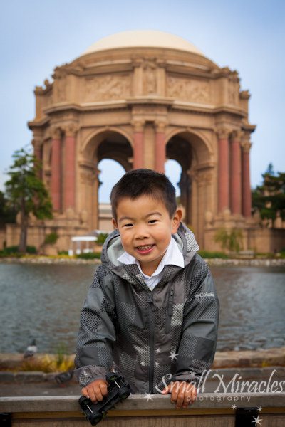 Boy in front of the Palace of Fine Arts