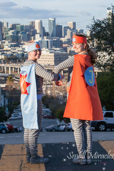 Superhero sister photo session in san francisco