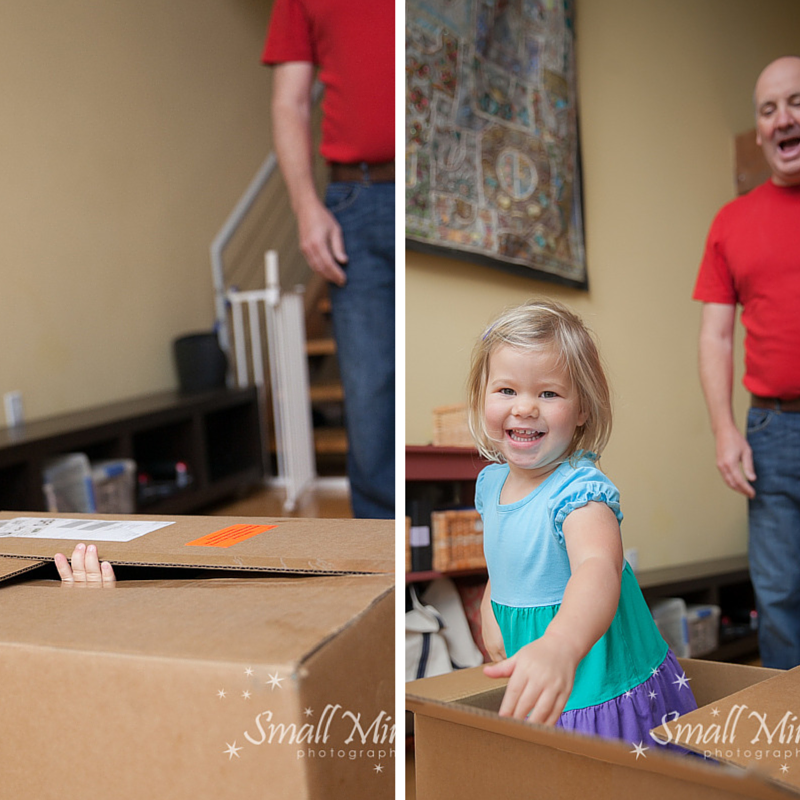 girl playing in box